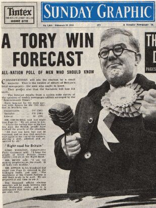 The Sunday Graphic, Feb 19 1950: A Tory Win Forecast - All Nation Poll of Men Who Should Know, illustrated with fat campaigner in heroic pose