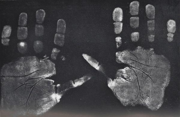 Handprints of boy of fourteen