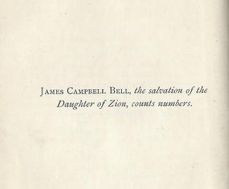 James Campbell Bell, the salvation of the Daughter of Zion, counts numbers.